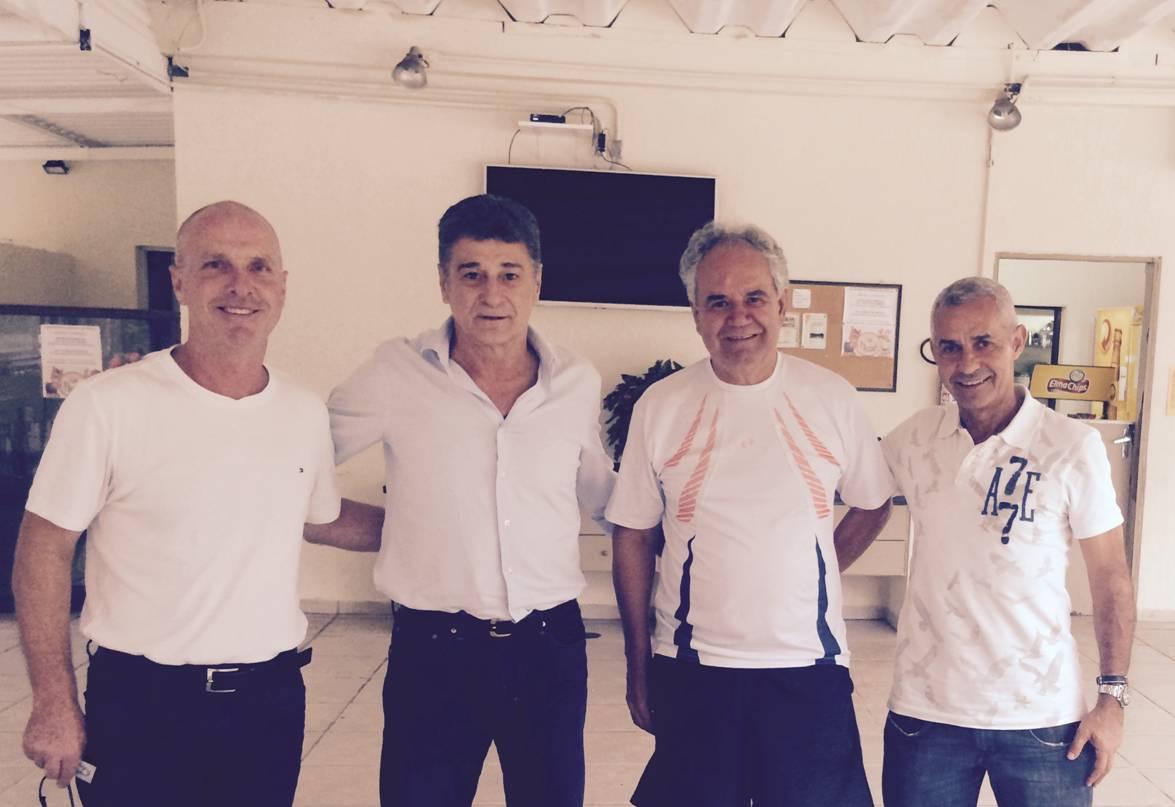 Erwin Raszl, Dario Pereyra, o jornalista Mário Marinho e Wanilton Zambrotti